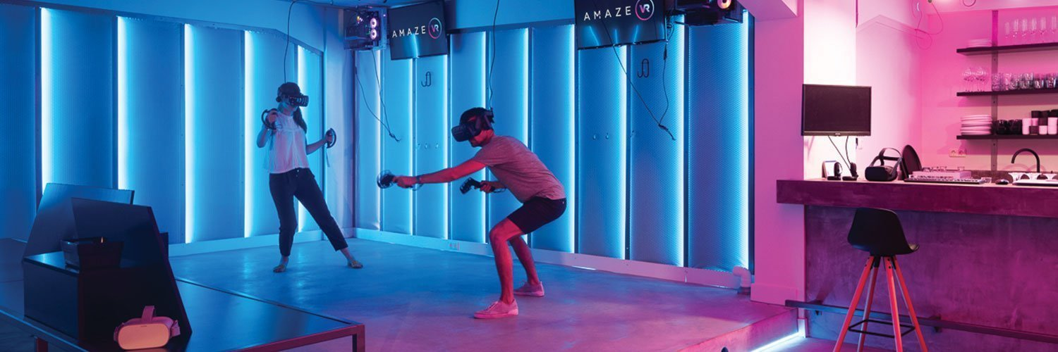 VR Arcade Players in Action Poses