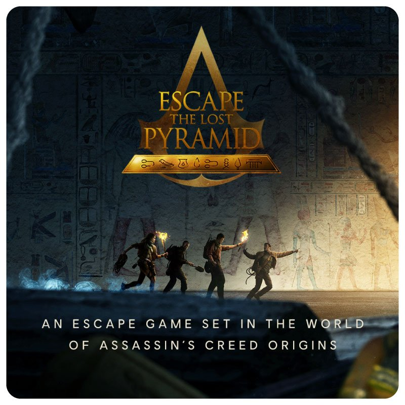 VR Escape Room Escape the Lost Pyramid Foto met 4 mensen in de Pyramid